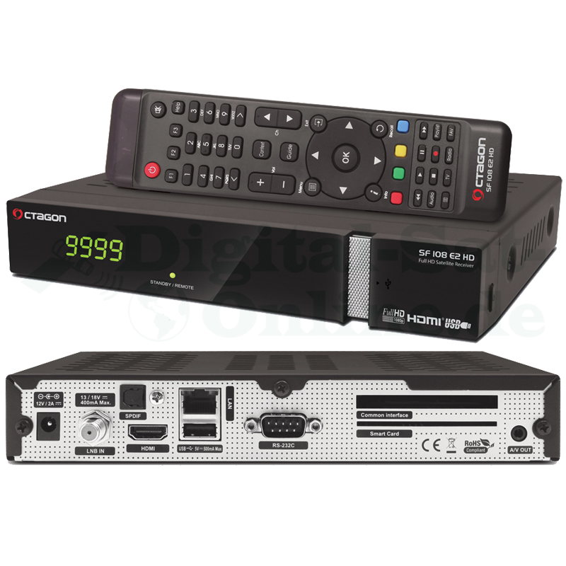 Octagon SF108 E2 HD Full HD Linux Sat Receiver Schwarz