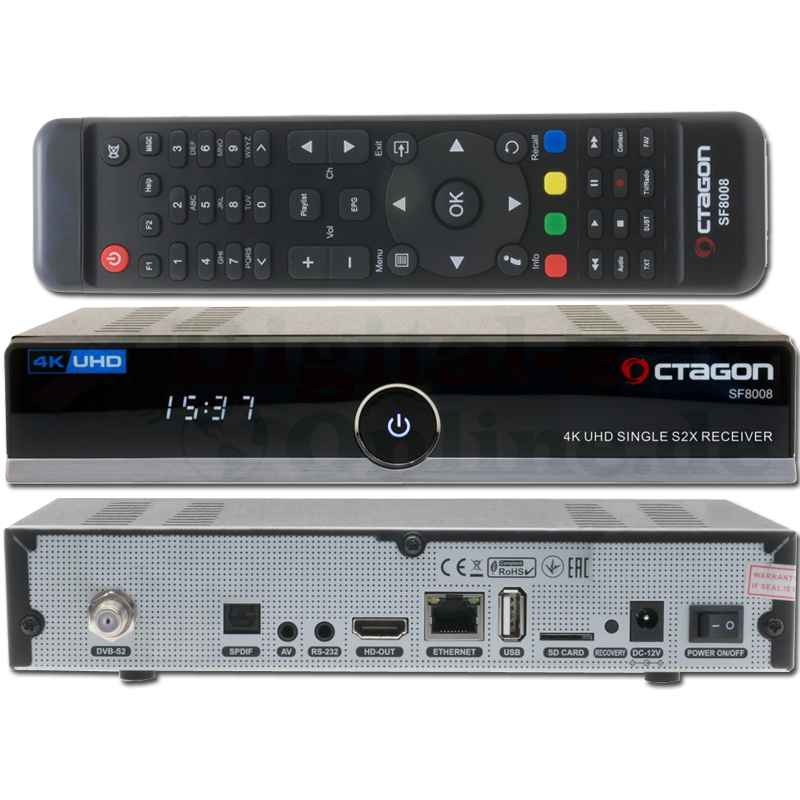 OCTAGON SF8008 4K UHD E2 DVB-S2X Linux Single Receiver