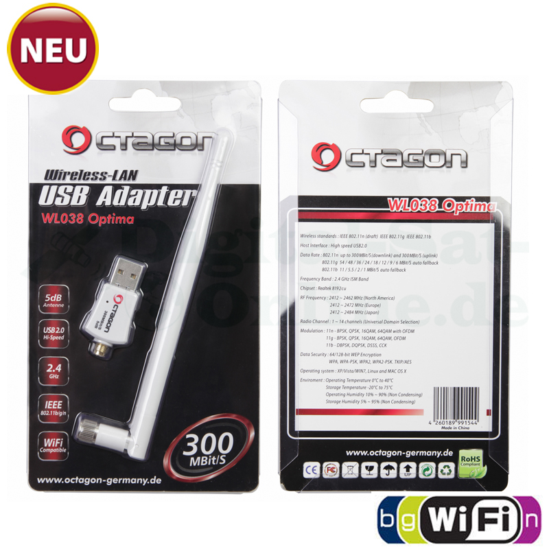 OCTAGON WL038 Wireless LAN USB 2.0 Adapter 300 Mbit/s +5dB