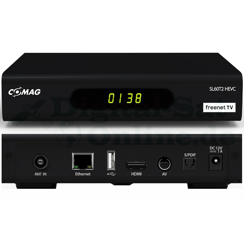 Comag SL60T2 Full-HD HEVC DVBT2 Receiver PVR Ready + FreenetTV